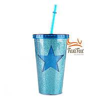 Яркий стакан с трубочкой многоразовый Star