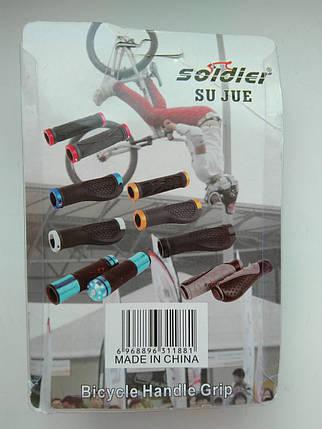 Грипсы для велосипеда с алюминиевой накладкой, фото 2