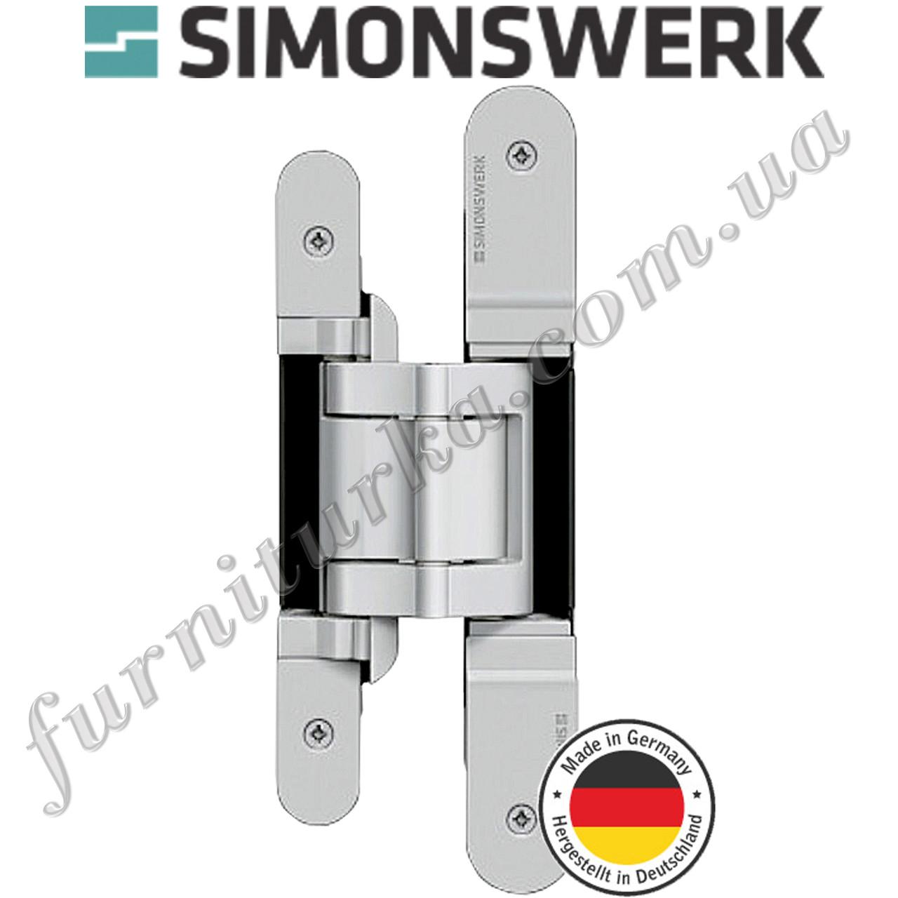 Скрытая дверная петля Tectus TE 380 3D F1 (сатин хром)