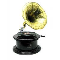 Граммофон Антик действующий, 78-скорость круглый, дерево 63х36х36 см