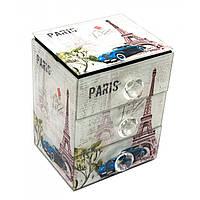 Шкатулка для украшений Париж с зеркальцем стеклянная 15х12х9,5 см