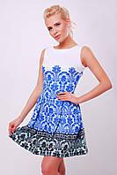 Белое летнее платье миди с раскошным синим узором Дамаск мелкий сукня Мия-1 б/р