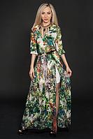 Шикарное шифоновое женское платье в пол с принтом.