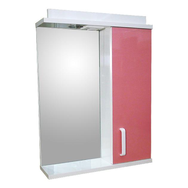 Зеркало 60 для ванной комнаты с подсветкой и шкафчиком Дебют Перфект  мотыль розовый