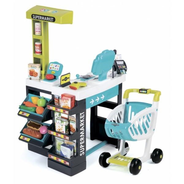 Интерактивный супермаркет с тележкой, продуктами и аксессуарами Smoby