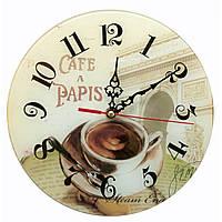 Часы настенные Кофе стекло d-25 см тихий ход