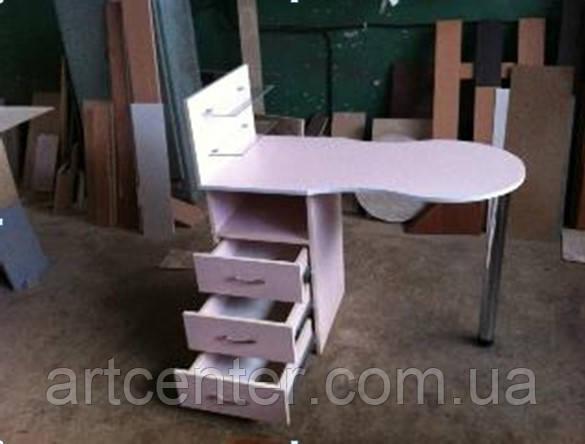 Маникюрный стол с выдвижными ящиками, стеклянными полочками для салона красоты