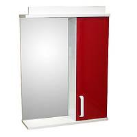 Зеркало для ванной комнаты с подсветкой и шкафчиком Дебют Перфект 55 красный