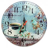 Часы настенные Кофе с птицей стекло d-20 см тихий ход