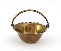Старая миниатюрная корзинка, миниатюра, латунь, Индия, фото 1