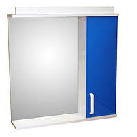 Зеркало для ванной комнаты с подсветкой и шкафчиком Дебют Перфект 70 синий