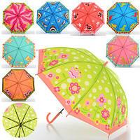 Зонтик детский MK 0521, длина 52,5 см., трость 67 см., диаметр 81 см., спица 49см., клеёнка, 8 видов