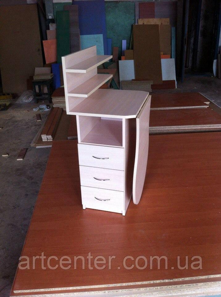 Стол маникюрный складной, с полочками для лаков и выдвижными ящиками