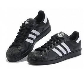 Кроссовки Adidas SuperStar Core Black Черные женские реплика