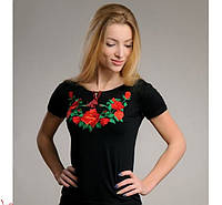 ЖІноча футболка-вишиванка з трояндами.Р-ри 42-52