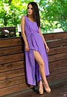 Женский красивый сарафан летний без рукав с поясом в пол