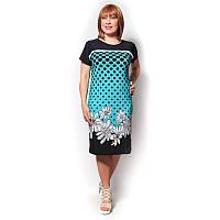 Платье батал бирюза микромасло