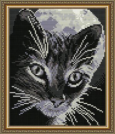 """Набор в алмазной технике """"Кот под луной"""", фото 2"""