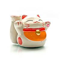 Кот копилка с подставкой керамический 6х8х8 см