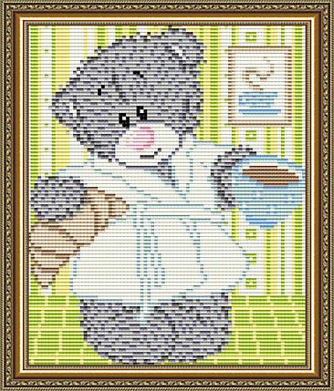 """Набор в алмазной технике """"Мишка с кофе"""", фото 2"""