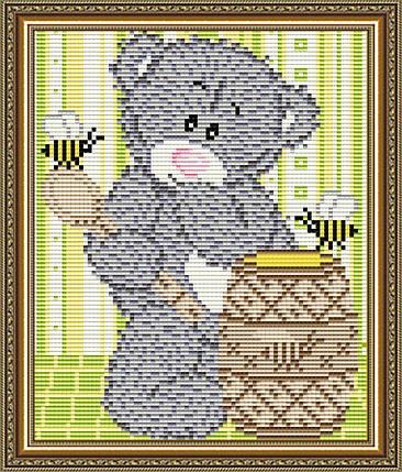 """Набор в алмазной технике """"Мишка с медом"""", фото 2"""