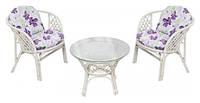 Мебель стол и два кресла KUTA Provence из ротанга