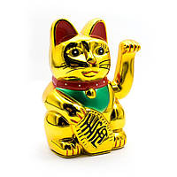 Кошка Манэки-нэко машущая лапой пластик 14,5х9,5х9 см батарейки в комплект не входят