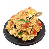 Жаба на монетах с камнями золото 13,5х13,5х8,5 см