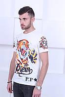 Белая мужская футболка Philipp Plein Tiger