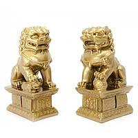 Собаки Фу пара каменная крошка бронза 10,5х6х4 см