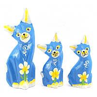 Кошки 3 шт деревянные синие 15х5х3 см 12х4,5х2,5 см 10,5х4,5х2,5 см