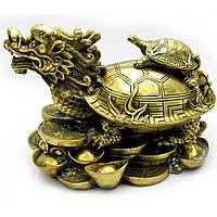 Статуэтка Черепаха дракон на монетах бронза Д36*Ш23,5*В24/см