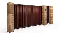 Комплект откатных ворот обшиты двухсторонним профнастилом ruukki размер ш х в 3500 х 2000