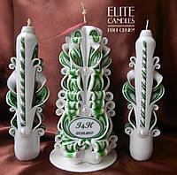 Набор зеленых свадебных резных свечей ручной работы. Именной с датой свадьбы и именами молодоженов