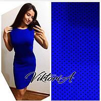 Платье 232,креп  костюмка, ярко-синее в горох