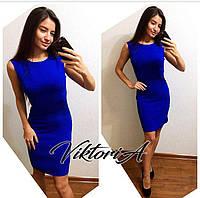 Платье 232,креп  костюмка, синее
