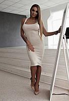 Летнее вязаное платье с шелковыми лентами