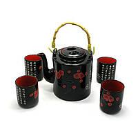 Сервиз керамический чайник 700мл, h-13,5см, d-9см; 4 чашки 130мл, h-7,3см, d-6см 28х16х12см