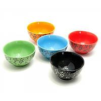Миски керамические Цветы с Бабочками набор 5 шт h-6 d-11,5 см упаковка 31х12х12,5 см