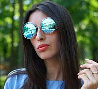 Женские солнцезащитные зеркальные очки круглые