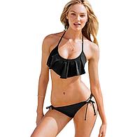 Купальник реплика Victorias Secret с воланом, черный