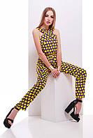Стильный летний женский комбинезон с поясом фиолетовый-желтый