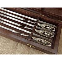 """Шампура """"Кабаны"""" - набор шампуров с бронзовыми ручками в кейсе из натурального дерева"""