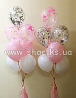 Фонтан с белыми,  розовыми шарами и с конфетти