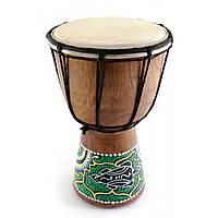 Барабан расписной дерево с кожей 20х11.5х11.5 см