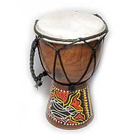 Барабан расписной дерево с кожей 15х9,5х9,5 см