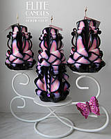 Свадебные свечи ручной работы. Темно-розового цвета