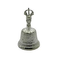 Колокол чакровый бронзовый посеребренный №1 d-7,h-13 см Непал