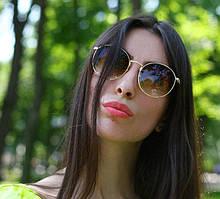 Стильные женские  солнцезащитные круглые очки Dior в золотой оправе