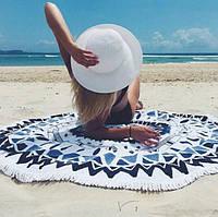 Пляжный коврик Mandala black blue 140см